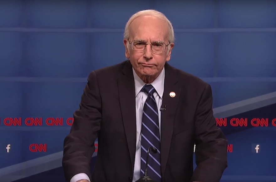 "Comedian Larry David impersonating Bernie Sanders on ""Saturday Night Live,"" Oct. 17, 2015. (Screenshot from YouTube)"