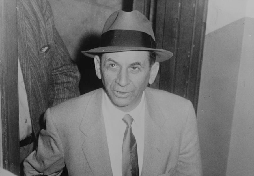Meyer Lansky at a police station, where he is being booked for vagrancy, New York City,  1958. (Wikimedia Commons)
