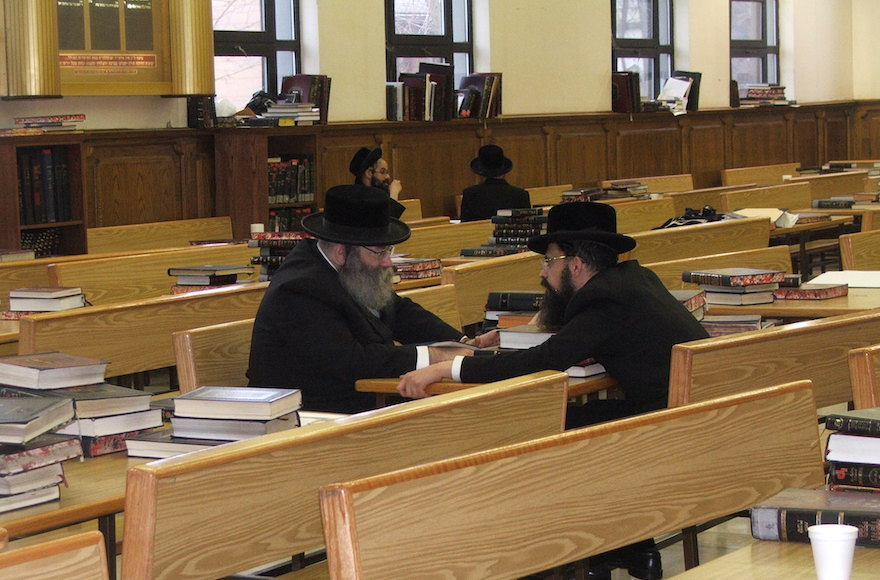 The beit midrash study hall in the Hasidic village of New Square, N.Y., is virtually empty on the afternoon of Christmas Eve, known as Nittel Nacht. (Uriel Heilman)