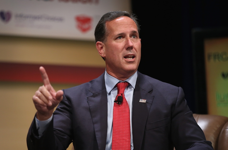 Republican presidential candidate and former Pennsylvania Senator Rick Santorum at The Family Leadership Summit at Stephens Auditorium in Ames, Iowa July 18, 2015. (Scott Olson/Getty Images)