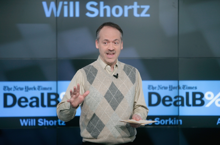 The New York Times Crossword Editor Will Shortz speaking onstage during The New York Times DealBook Conference at One World Trade Center in New York, Dec. 11, 2014.  (Photo by Thos Robinson/Getty Images for New York Times)