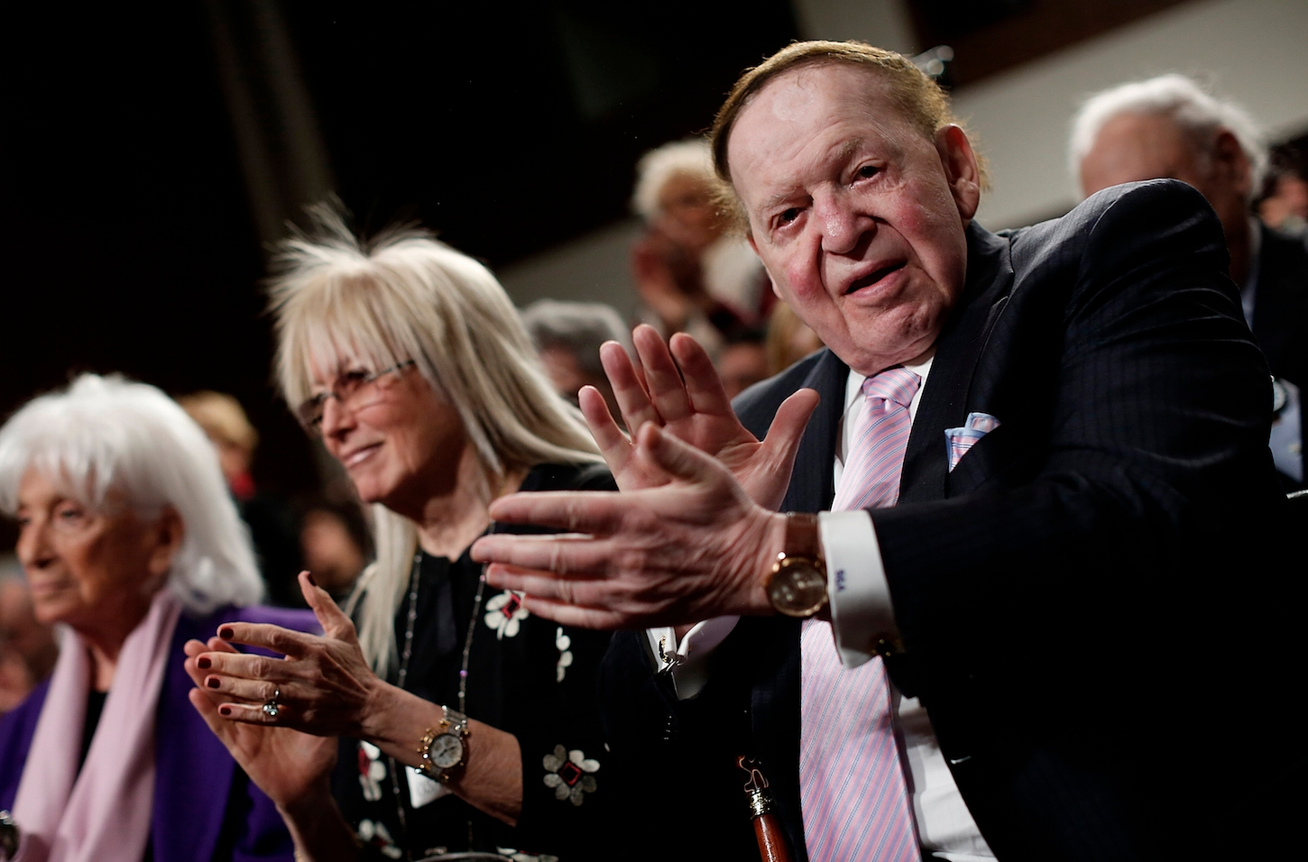 Sheldon Adelson, right, and his wife Miriam Adelson gave $40 million to the failed presidential candidacy of Newt Gingrich in 2012. The Adelsons have declined to support a Republican candidate so far in 2016. (Win McNamee/Getty Images)