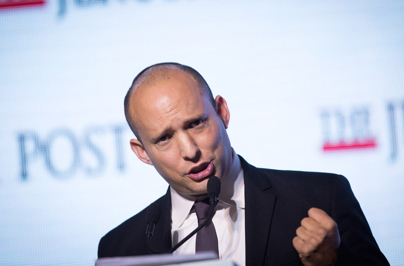 Naftali Bennett speaking at a conference in Jerusalem, Nov. 18, 2015. (Miriam Alster /Flash90)