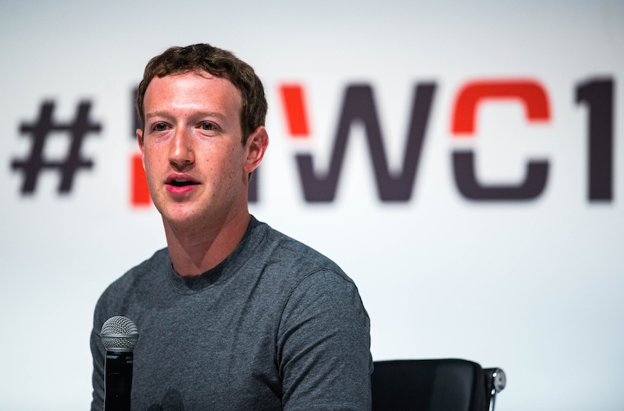 Founder and CEO of Facebook Mark Zuckerberg speaking Mobile World Congress 2015 at the Fira Gran Via complex in Barcelona, Spain, March 2, 2015. (David Ramos/Getty Images)