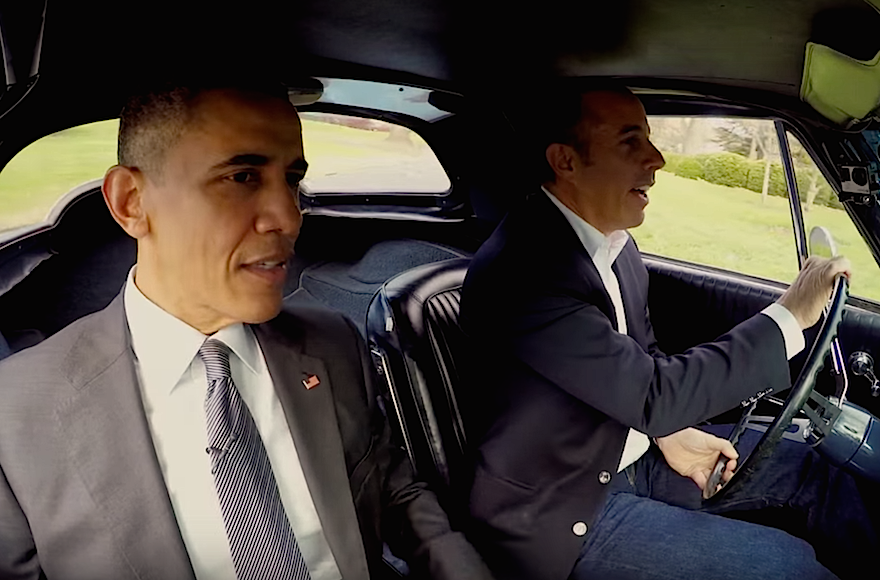 "President Obama with Jerry Seinfeld in an episode of ""Comedians in Cars Getting Coffee."" (Screenshot from YouTube)"