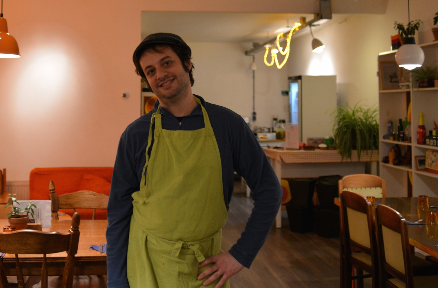 Yuval Gal in his hummus restaurant in The Hague. (Courtesy of Love & Peas)