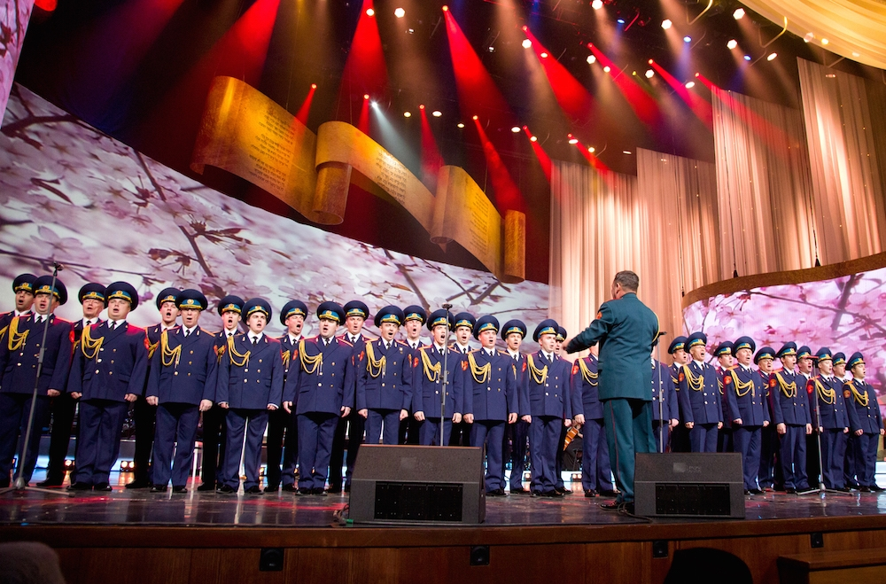 The Russian military choir performing at a hanukkah celebration at the Kremlin, Dec. 8, 2015. (Federation of Jewish Communities of Russia)