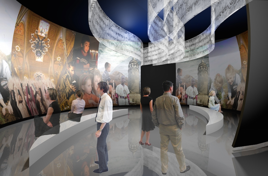 Rendering of the new core exhibition at the Museum of the Jewish People at Beit Hatfutsot. (Courtesy of Gallagher & Associates)