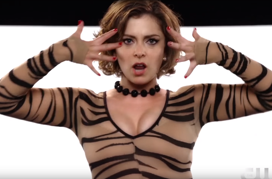 "Rachel Bloom, the creator and star of ""Crazy Ex-Girlfriend,"" in a musical scene from the series. (Screenshot from YouTube)"