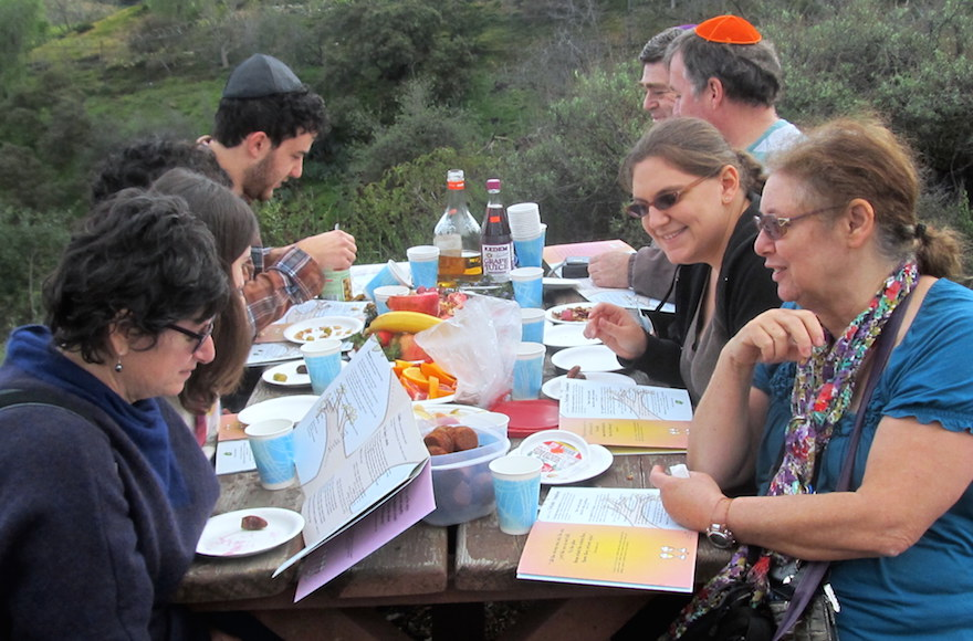 The Movable Minyan's outdoor Tu B'Shvat seder. (Edmon J. Rodman)