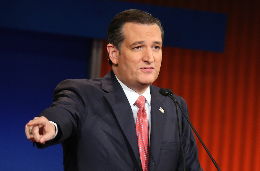 Republican presidential candidate Sen. Ted Cruz, R-Tx., participating in the Fox Business Network Republican presidential debate at the North Charleston Coliseum and Performing Arts Center in South Carolina, Jan. 14, 2016. (Scott Olson/Getty Images)