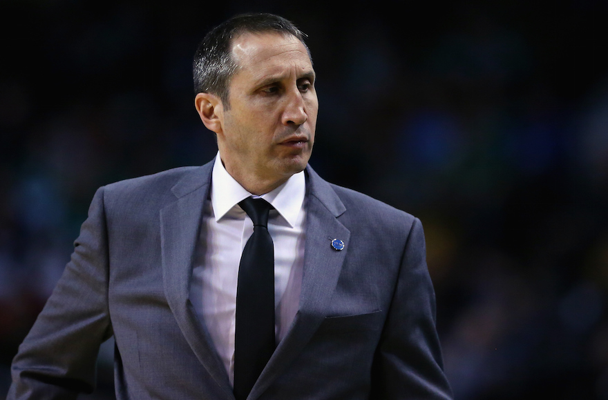 David Blatt looking on as his Cleveland Cavaliers played the Boston Celtics at the TD Garden in Boston, Dec. 15, 2015.  (Maddie Meyer/Getty Images)