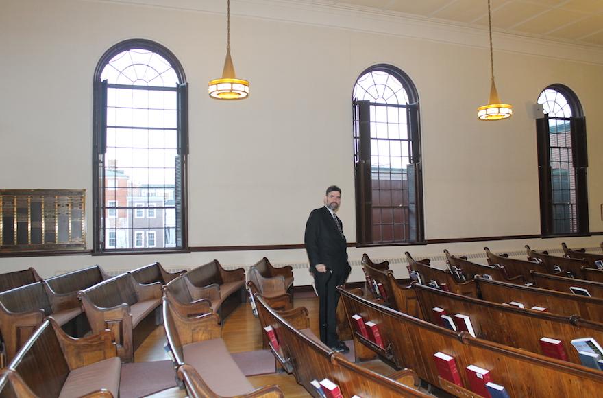Rabbi David Senter inside Temple Israel, which underwent a $3.7 million renovation in 2007. (Uriel Heilman)