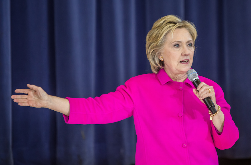 Hillary Clinton speaking at an event at an elementary school in Clinton, Iowa, Jan. 23, 2016. (Brendan Hoffman/Getty Images)