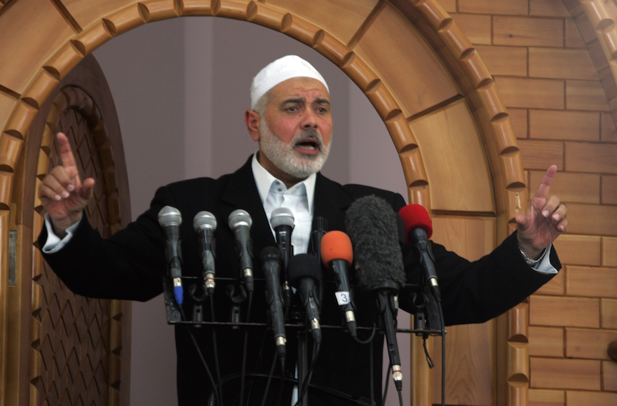 Hamas leader Ismail Haniyeh giving a sermon at Taiba Mosque in Rafah, the Gaza Strip, May 1, 2015. (Abed Rahim Khatib/Anadolu Agency/Getty Images)