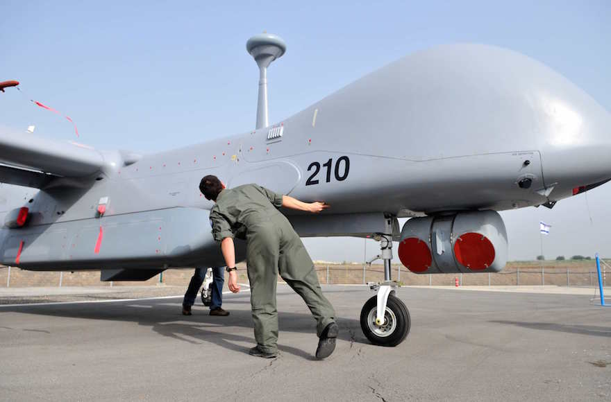An Israeli soldier inspecting a Ethan unmanned aircraft, Feb. 18, 2010. (Yossi Zeliger/Flash90)