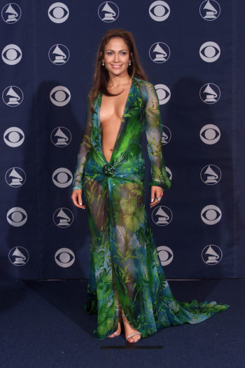 Jennifer Lopez wearing her now-legendary dress at the 42nd Annual Grammy Awards in Los Angeles, Feb. 23, 2000. (Scott Gries/ImageDirect/Getty Images)