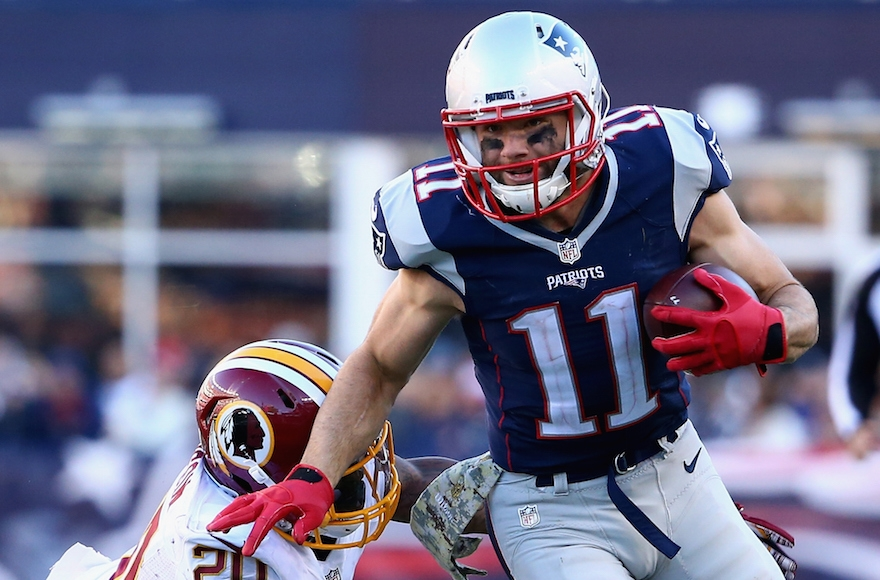 Julian Edelman playing against the Washington Redskins at Gillette Stadium in Foxboro, Massachusetts, Nov. 8, 2015. (Maddie Meyer/Getty Images)