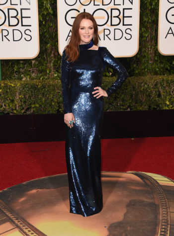 Julianne Moore wore a glamorous, full-coverage Tom Ford gown to the  Golden Globe Awards on Jan. 10, 2016. (Jason Merritt/Getty Images)