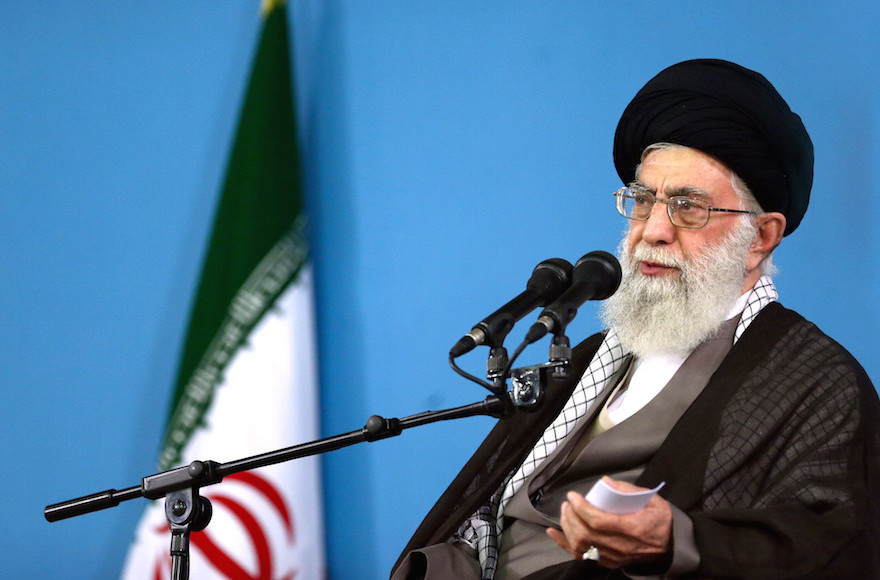 Supreme Leader Ayatollah Ali Khamenei delivering a speech during a meeting in Tehran, Sept. 9, 2015. (Office of the Iranian Supreme Leader/ AP Images)