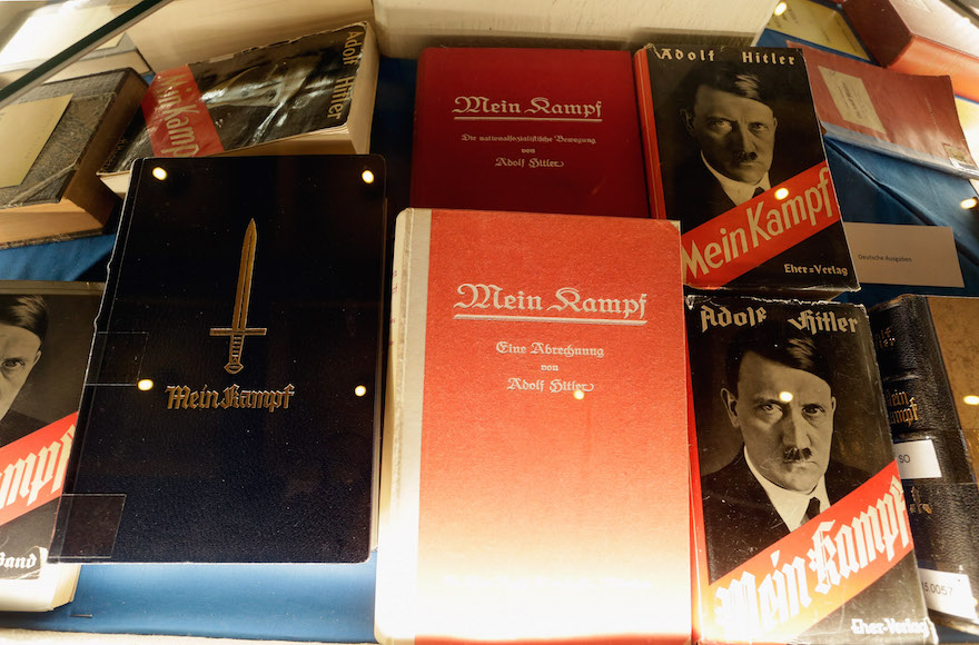 "Historic copies of Adolf Hitler's ""Mein Kampf"" are displayed during the book launch of a new critical edition at the Institut fuer Zeitgeschichte in Munich, Germany, Jan. 8, 2016. (Johannes Simon/Getty Images)"