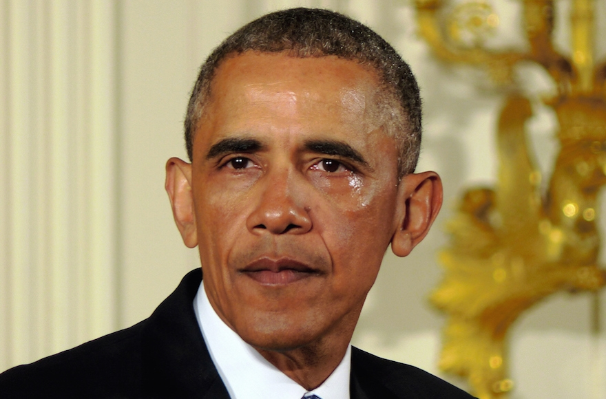President Barack Obama shedding tears as he talks about the victims of the 2012 Sandy Hook Elementary School shooting and about his efforts to increase federal gun control in the East Room of the White House in Washington, D.C., Jan. 5, 2015. (The Asahi Shimbun via Getty Images)