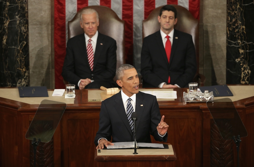 President Barack Obama delivering the State of the Union speech before members of Congress in the House of Representatives in Washington, D.C., Jan. 12, 2016. (Alex Wong/Getty Images)