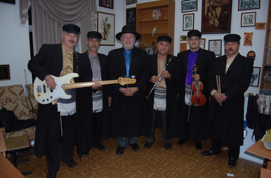 Eduard Tumansky, third from left, with fellow Simcha musicians, Sept. 3, 2013. (Courtesy of Simcha)