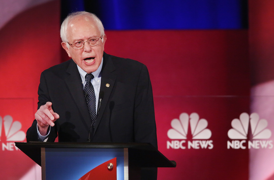 Senator Bernie Sanders, I-Vt.,participating in the Democratic Candidates Debate hosted by NBC News and YouTube in Charleston, South Carolina, Jan. 17, 2016. (Andrew Burton/Getty Images)