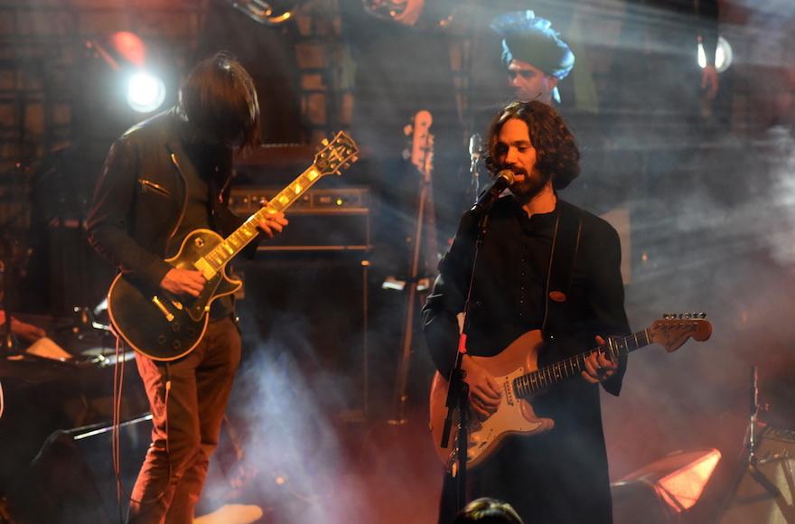 Shye Ben-Tzur, right, playing with Radiohead guitarist Jonny Greenwood at the Sacred Jerusalem Festival, Sept. 1, 2015. (Noam Chojnowski)