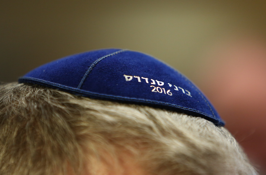 Marc Daniels sporting a Bernie Sanders yarmulke at a campaign event in Marshalltown, Iowa, Jan. 10, 2016. (Charles Ledford/Getty Images)