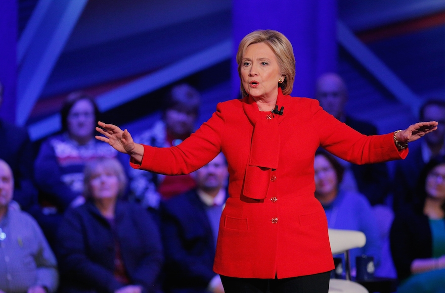 Democratic presidential candidate Hillary Clinton participating in a town hall forum at Drake University in Des Moines, Iowa, Jan. 25, 2016.(Justin Sullivan/Getty Images)