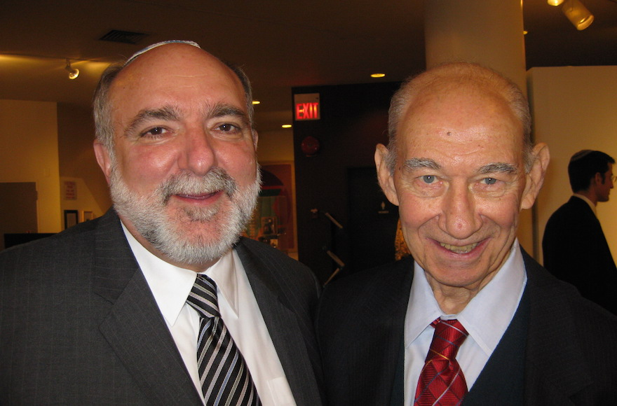 Rabbis David Ellenson, left, and Eugene Borowitz in 2009, on the occasion of the latter's 85th birthday. (Courtesy of Hebrew Union College -- Jewish Institute of Religion)