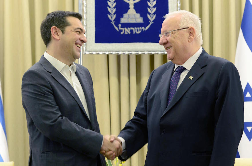 Greek Prime Minister Alexis Tsipras, left, meeting Israeli President Reuven Rivlin in Jerusalem, Nov. 26, 2015. (Mark Neyman/GPO)