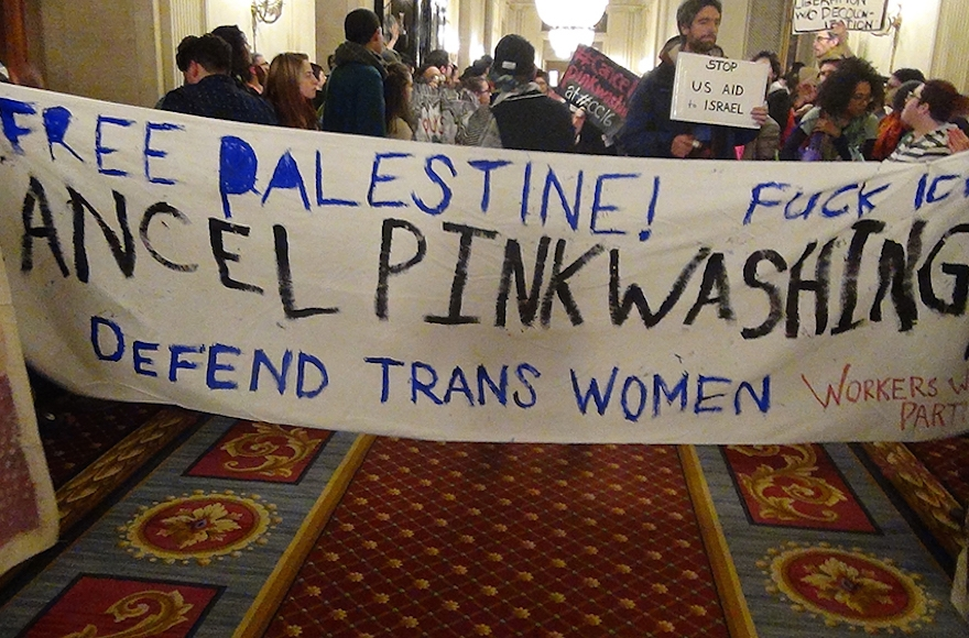 Protestors at an LGBTQ conference in Chicago accused Israel of obscuring its treatment of Palestinians by touting its record on gay rights. (Courtesy photo)