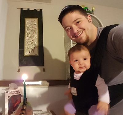 Rafi and Ettie celebrate Hanukkah. (Courtesy of Rafi Daugherty)