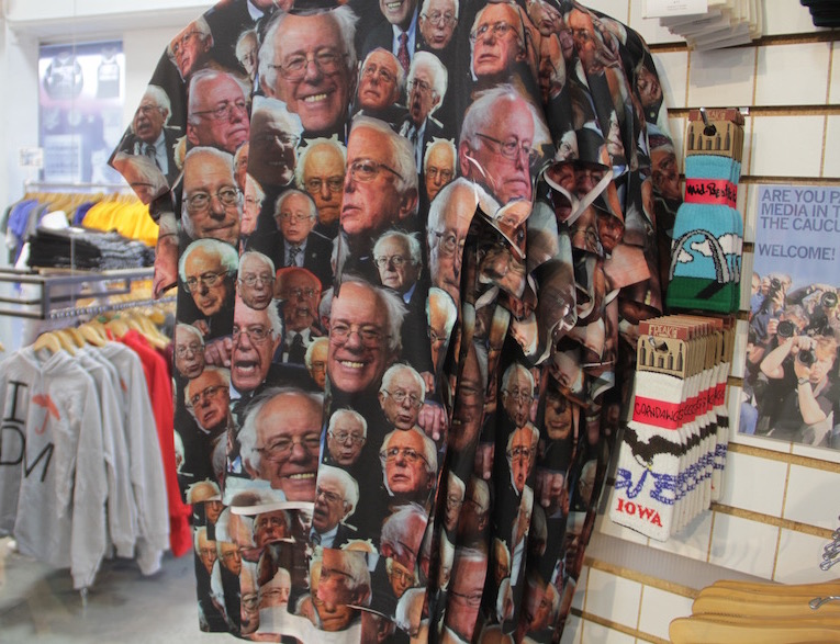 A Bernie Sanders T-shirt on sale at Raygun a popular clothing store in Des Moines Iowa