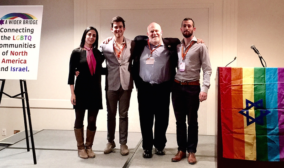 Arthur Slepian, second from right, and other Jewish activists at the Creating Change conference in Chicago. (A Wider Bridge)