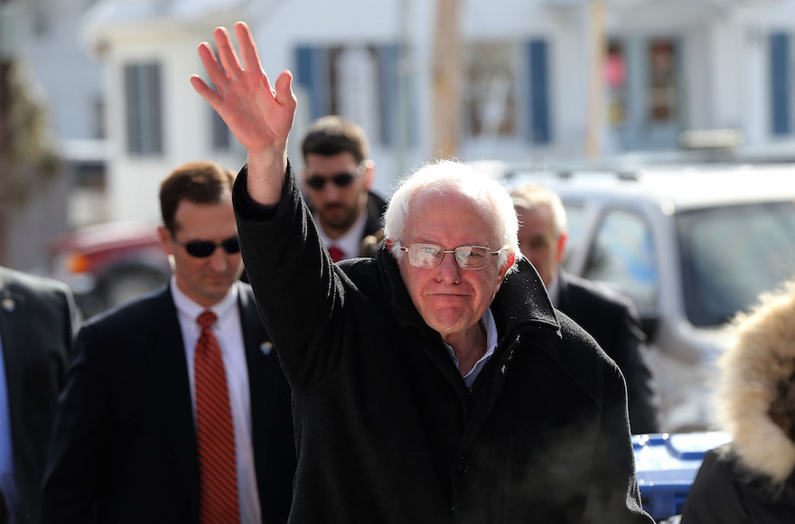Sen. Bernie Sanders, I-Vt., waving on election day in Concord, New Hampshire, Feb. 9, 2016. (Spencer Platt/Getty Images)