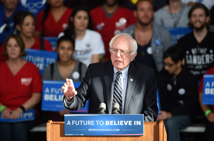 Bernie Sanders giving a concession speech at the Henderson Pavilion in Henderson, Nevada, Feb. 20, 2016. (Ethan Miller/Getty Images)