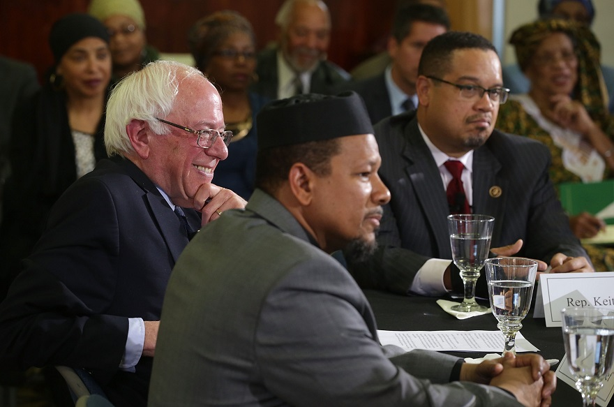 Sen. Bernie Sanders is flanked by Rep. Keith Ellison, left, and Imam Talib Shareet at an event at Masjid Muhammad, The Nation's Mosque, in Washington, D.C., Dec. 16, 2015. (Alex Wong/Getty Images)