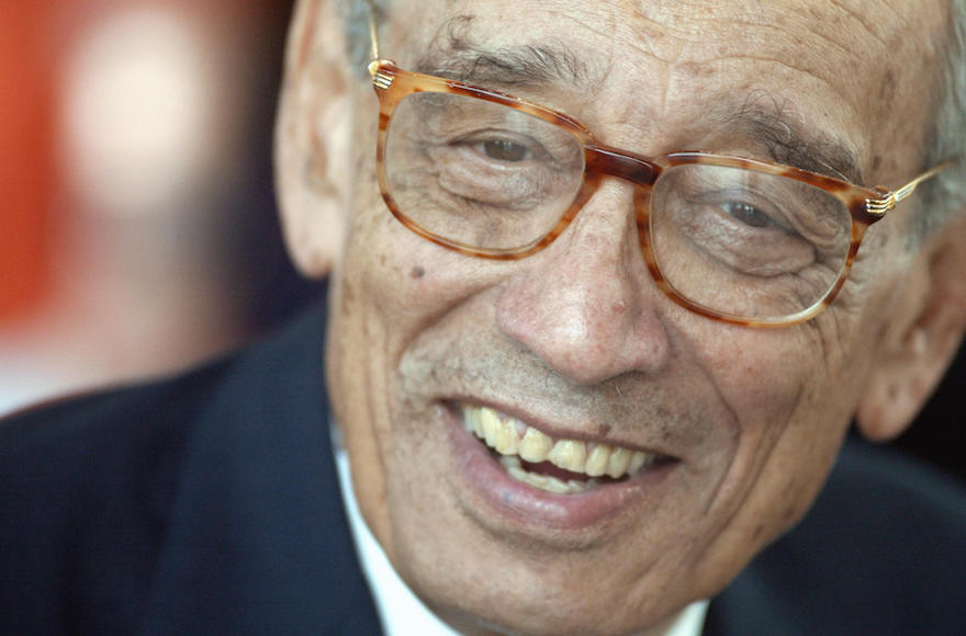 Former United Nations Secretary General Boutros Boutros-Ghali smiling during an Egyptian-European Book fair held outside the Arab World Institute in Paris, France, June 12, 2003. (Jean-Pierre Muller/AFP/Getty Images)