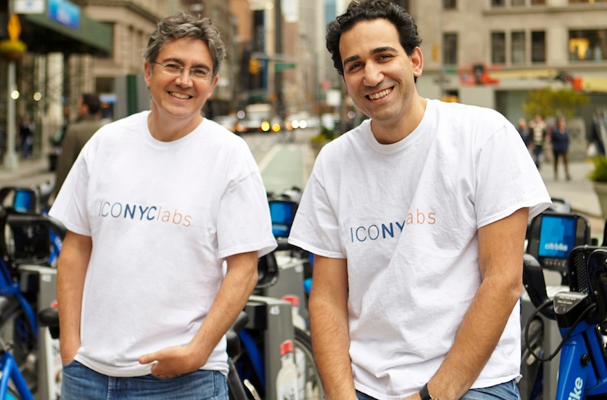 "Arie Abecassis, left, and Eyal Bino, right, are the co-founders of ICONYC Labs, an ""accelerator program"" that helps launch Israeli startups in New York. (Courtesy of ICONYC Labs)"