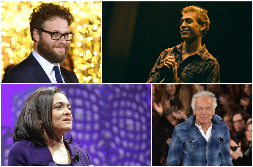 Clockwise from top left: Seth Rogen, Matisyahu, Ralph Lauren and Sheryl Sandberg all went to Jewish camp.