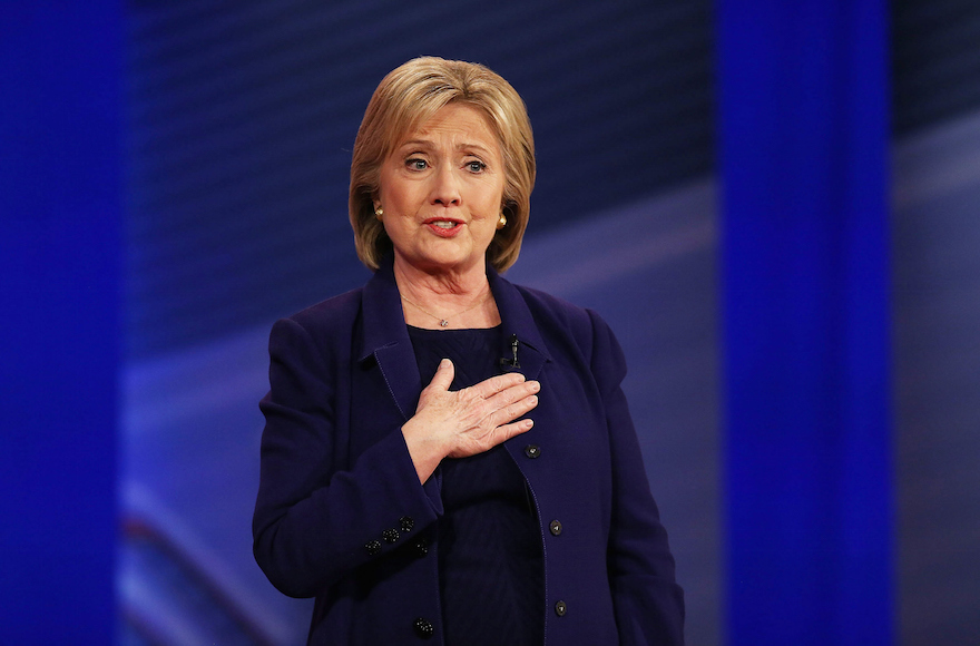 Hillary Clinton speaking at a Democratic presidential town hall at the Derry Opera House in Derry, New Hampshire, Feb. 3, 2106. (Justin Sullivan/Getty Images)