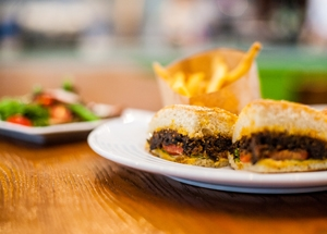 """Daluva's """"pulled"""" eggplant sandwich. (Trung Del)"""