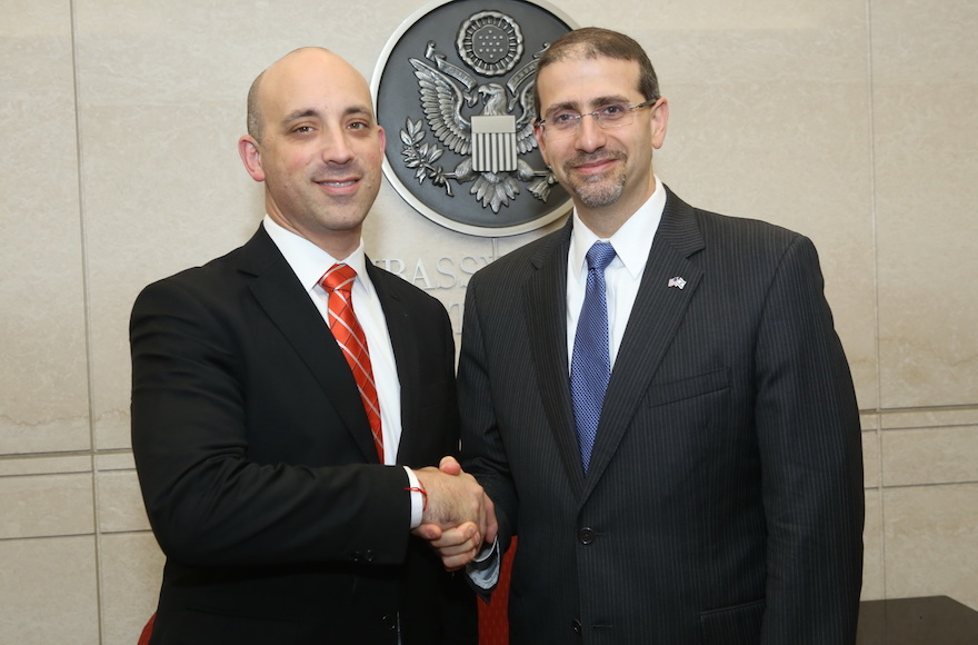 Jonathan Greenblatt, left, with the U.S. Ambassador to Israel Dan Shapiro at the U.S. Embassy in Israel, Oct. 2015. (Courtesy of the Anti-Defamation League)