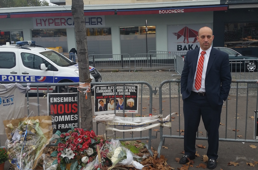 Jonathan Greenblatt at the Hyper Cacher supermarket in Port de Vincennes, France, Nov. 2015. (Courtesy of the Anti-Defamation League)