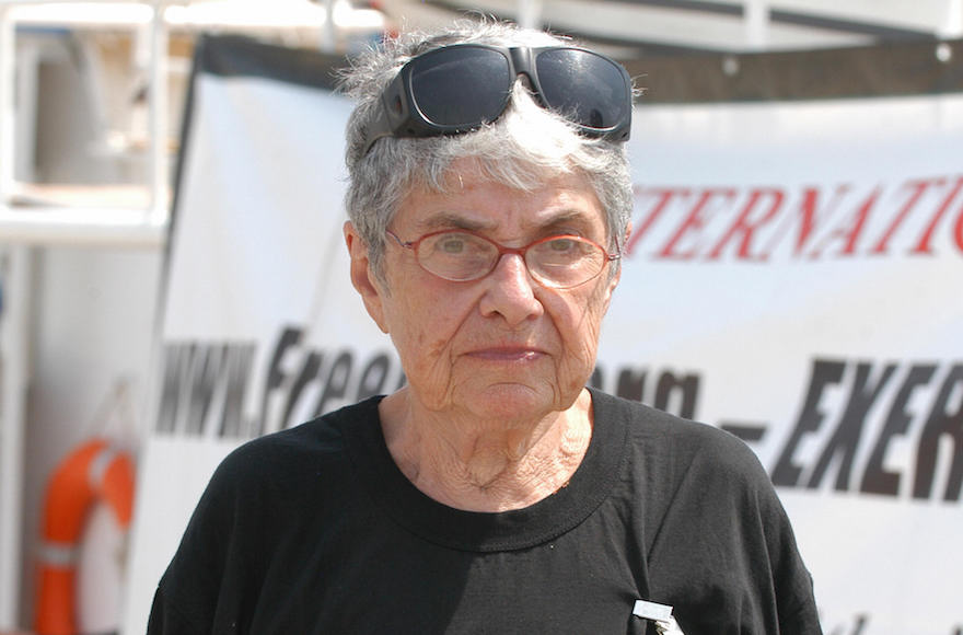 Holocaust survivor Hedy Epstein wearing a T-shirt with the Arabic slogan 'Gaza on my mind' encircled with a drawing of barbed wire, posing in front of one of the peace boats docked at the southern Cypriot port of Larnaca on their way to the Gaza Strip, Aug. 21, 2008. (Stefanos Kouratzis/AFP/Getty Images)
