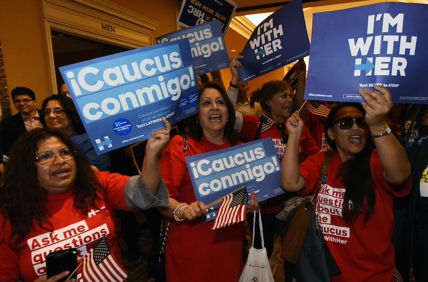 Voters chanting as they wait in line to get into a Democratic caucus at Caesars Palace in Las Vegas, Nevada, Feb. 20, 2016. (Ethan Miller/Getty Images)